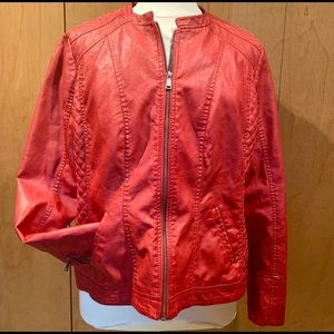 Sz 22/24 Red Vegan leather riding jacket